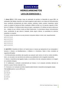 Hidrocarbonetos - Lista de exercícios 1 (Prof Brasil)