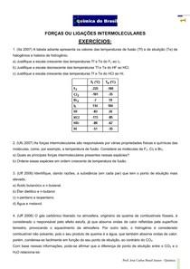 Forças Intermoleculares 2 - lista de exercícios (Prof Brasil)