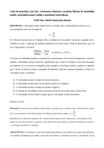 Lista UA 9_Movimento Retilíneo conceitos básicos de velocidade média, velocidade escalar média e velocidade instantânea