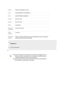 PLANEJAMENTO ESTRATÉGICO QUESTIONÁRIO UNIDADE IIIio