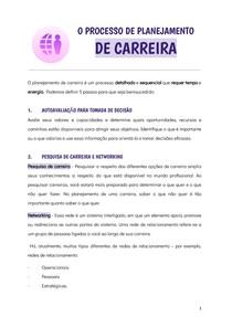O PROCESSO DE PLANEJAMENTO DE CARREIRA