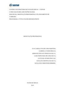 PLANEJAMENTO DE ORIENTAÇÃO PROFISSIONAL
