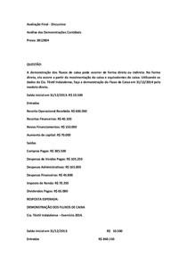 PROVA FINAL DISCURSIVA DE ANÁLISE DAS DEMONSTRAÇÕES CONTÁBEIS 3812804