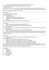 Atividade de Aprendizagem 02 Didatica Planejamento e Avaliacao