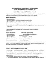 APOSTILA DA DISCIPLINA ADMINISTRAÇÃO DE RECURSOS HUMANOS (fevereiro de 2017) (2)