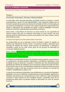 Avaliação e Currículo - Resumo dos Temas 1 a 6