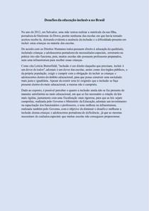 Redação Enem - Desafios da educação inclusiva no Brasil - (880)