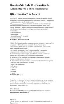 Questionário Aula 16 - Conceitos da Administração e Ética Empresarial