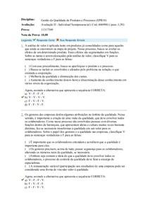 Gestão da Qualidade de Produtos e Processos Av II