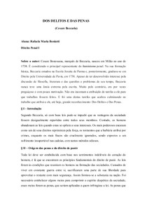 Dos Delitos e Das Penas - Cesare Beccaria