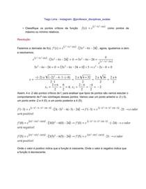 Questão resolvida - classificação dos pontos críticos da função - cálculo I - UFBA