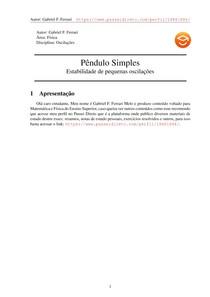 Pêndulo simples 02 - Estabilidade de pequenas oscilações