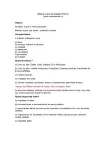 Objetos e tipos de licitação (parte I) - Direito Administrativo II