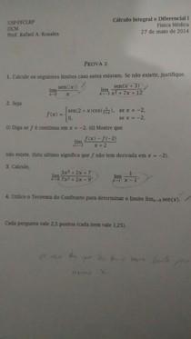 Segunda prova - Cálculo 1