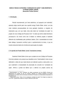 """SERÁ O FIM DA CATEGORIA """"CONDIÇÃO DA AÇÃO""""_ UMA RESPOSTA A FREDIE DIDIER JÚNIOR"""