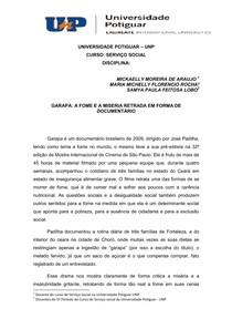 RESENHA CRITICA - DOCUMENTARIO A GARAPA