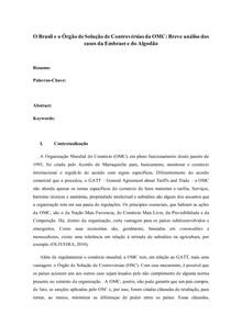 O Brasil e o Órgão de Solução de Controvérsias da OMC