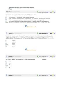 Avaliando o aprendizado / Teste de conhecimento aulas 1 à 10 SEMINÁRIOS EM LÍNGUA INGLESA