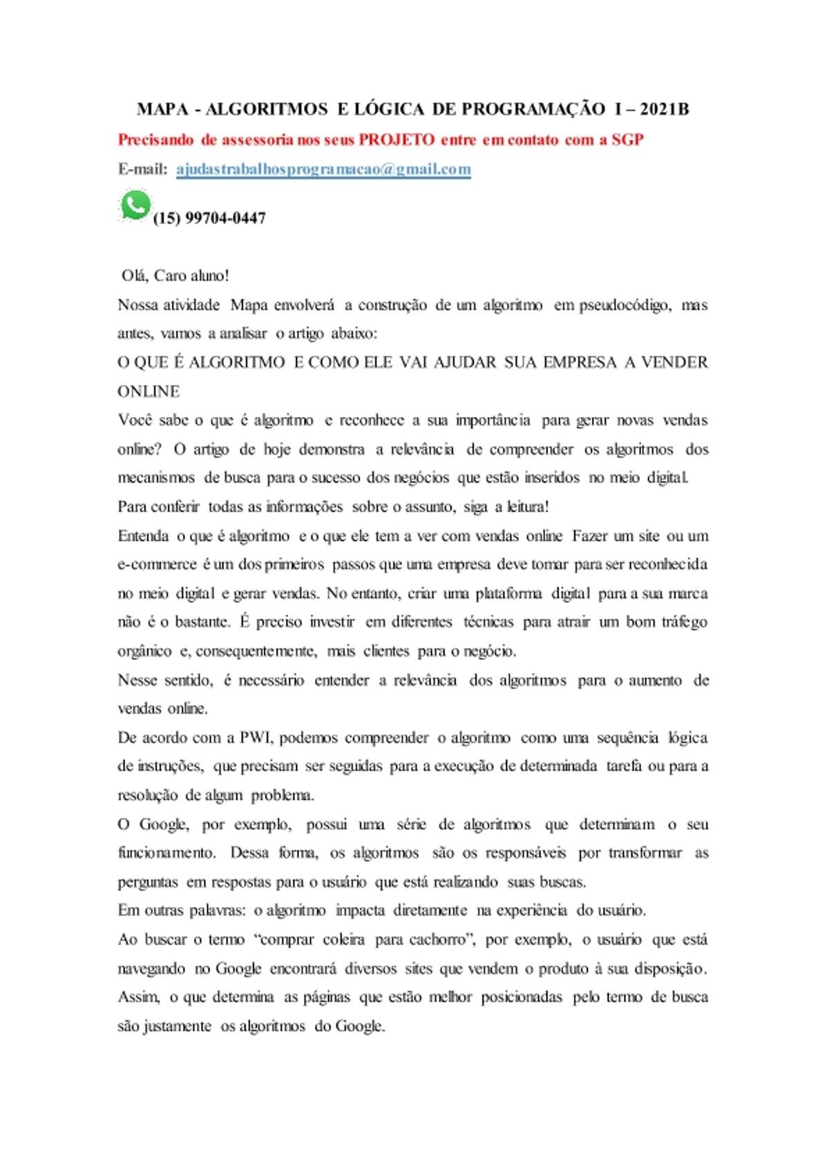 Pre-visualização do material MAPA  ALGORITMOS E LÓGICA DE PROGRAMAÇÃO I - página 1
