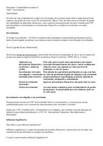 contabilidade societaria II resumo da  aula 1 a 5