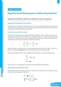 Equações do movimento, dinâmica de equilíbrio e momentos linear - Resumo