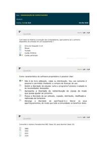 ORGANIZAÇÃO DE COMPUTADORES - SIMULADO