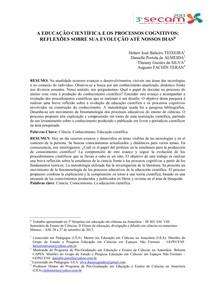A EDUCAÇÃO CIENTÍFICA E OS PROCESSOS COGNITIVOS1