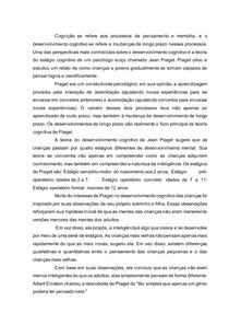 A teoria do desenvolvimento cognitivo de Jean Piaget