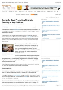 2012.04.13 - Bernanke Says Promoting Financial Stability Is Key Fed Role - Bloomberg