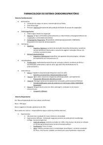Farmacologia do Sistema Cardiorrespiratório