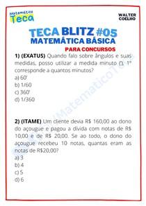Teca blitz #05 - Questões de Matemática Básica para Concursos