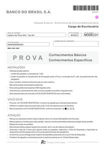 CONCURSO BANCO DO BRASIL - FUNDAÇÃO CARLOS CHAGAS - AGOSTO DE 2011 - PROVA