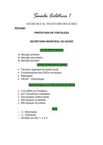 Saúde Coletiva 1 - Saúde bucal no Ceará
