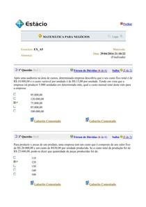 AVALIANDO O APRENDIZADO   MATEMÁTICA PARA NEGÓCIOS   05