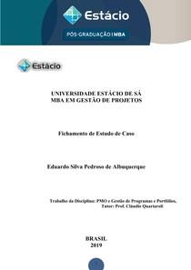 EDUARDO SILVA PEDROSO DE ALBUQUERQUE FICHAMENTO PMO E GESTÃO DE PROGRAMAS E PORTFÓLIOS ENVIADO 2019 02 17