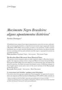 Movimento Negro Alguns Apontamenots Históricos