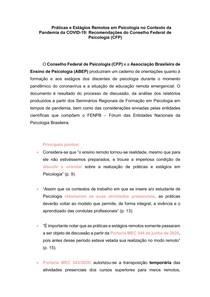 Práticas e Estágios Remotos em Psicologia no Contexto da Pandemia da COVID-19