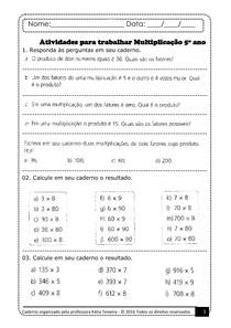 Atividades Para Trabalhar Multiplicacao 5º Ano Matematica Basica