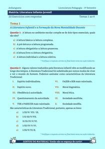 Literatura Infanto-juvenil - 20 Exercícios resolvidos dos temas 1 ao 4