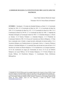 A liberdade religiosa Artigo Araújo
