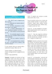 Civil II - Invalidade e Classificação dos Negócios Jurídicos