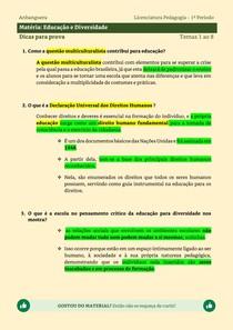 Educação e Diversidade - Dicas de estudo para prova