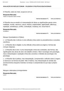 AVALIAÇÃO DO NÚCLEO COMUM FILOSOFIA E POLÍTICAS EDUCACIONAIS