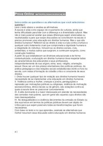 Prova Online a ANTROPOLOGIA DA EDUCAÇÃO