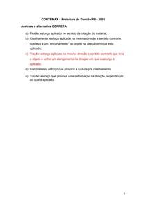 Questão sobre Esforços (Resistência dos Materiais) - CONTEMAX Prefeitura de Damião-PB 2019