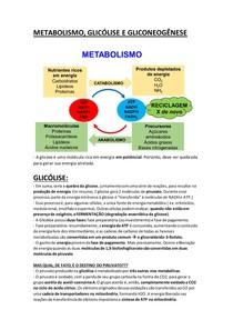 METABOLISMO GLICOLISE E GLICONEOGÊNESE