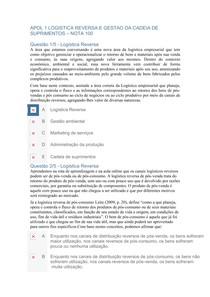 APOL 1 LOGISTICA REVERSA E GESTAO DA CADEIA DE SUPRIMENTOS