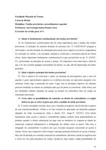 Questionário de Tutelas provisórias.