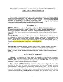 Modelo De Contrato De Corretagem Exclusividade Princípios Ge