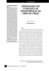 Genealogia do conceito de tranferência na obra de Freud